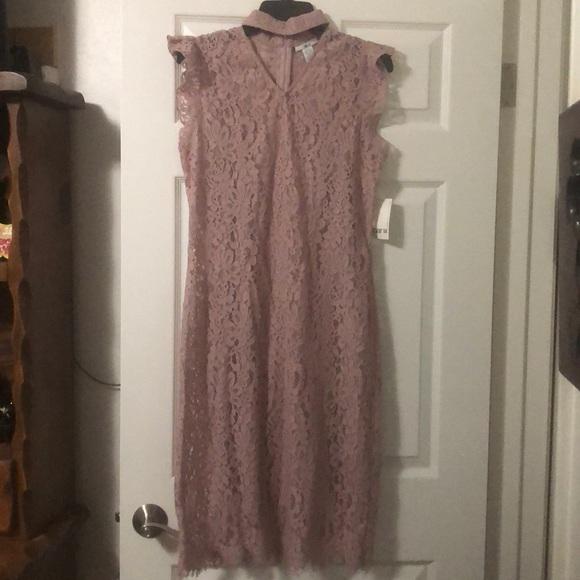 248d72e415 Bar lll pink lace dress choker neck